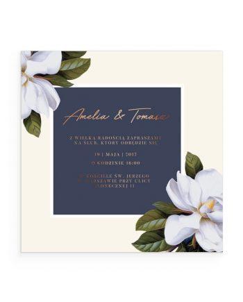 zaproszenie z motywem magnolii