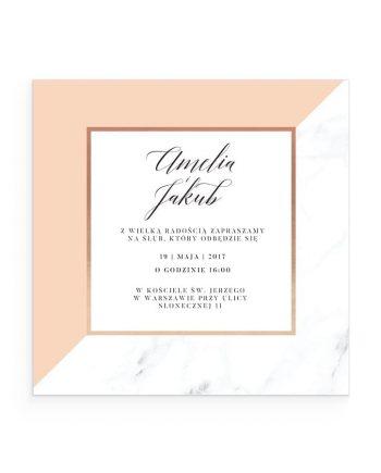 zaproszenie nowoczesne złocone marble