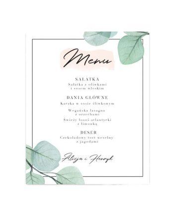menu weselne Boho Eucalyptus