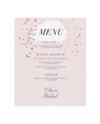 menu ślubne pudrowy róż