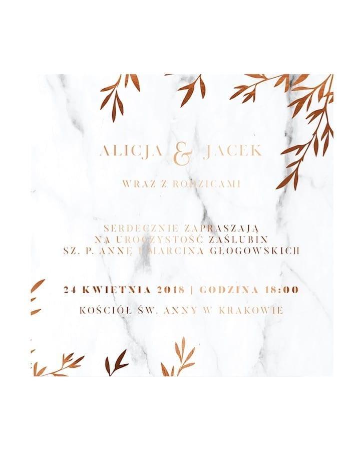 zaproszenie na ślub alice