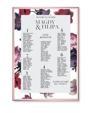 plakat lista stołów Vintage Poppies