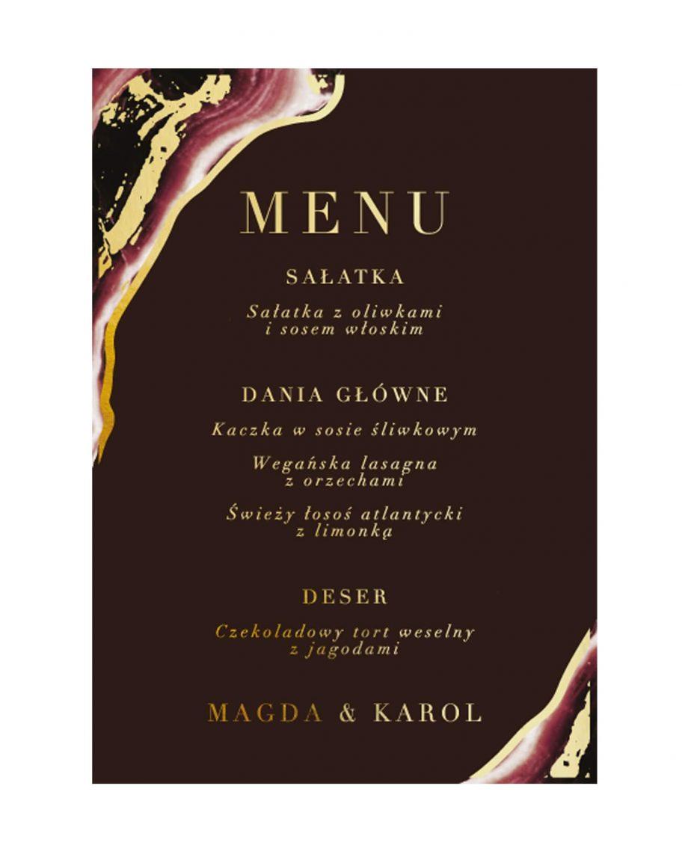 Dark Marsala menu jednokartkowe